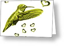 Yellow Hummingbird - 2055 F S M Greeting Card