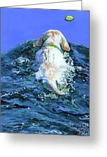 Yellow Lab  Blue Wake Greeting Card