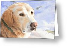 Yellow Lab In Snow Watercolor Portrait Greeting Card