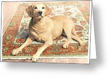 Yellow Lab On A Rug Watercolor Portrait Greeting Card
