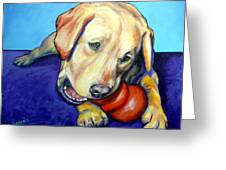 Yellow Lab With Kong Greeting Card