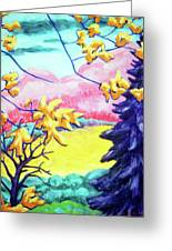 Yellow Leaves On Pink Hills Greeting Card