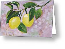 Yellow Lemons On Purple Orchid Greeting Card by Jen Norton