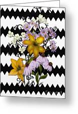 Yellow Lilies On Black And White Zigzag Greeting Card