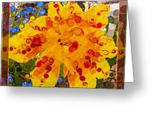 Yellow Lily With Streaks Of Red Abstract Painting Flower Art Greeting Card