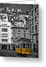 Yellow Lisbon Trolley Greeting Card