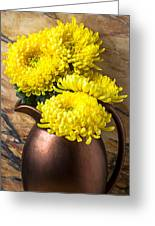 Yellow Mums In Copper Vase Greeting Card