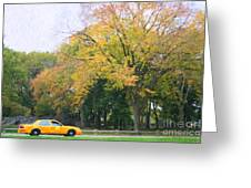 Yellow Nyc Taxi Driving Through Central Park Usa Greeting Card