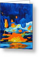Yellow Orange Blue Sunset Landscape Greeting Card by Patricia Awapara