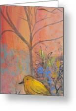 Yellow Peace Bird On Orange Greeting Card