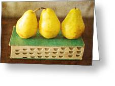 Yellow Pears And Vintage Green Book Still Life Greeting Card