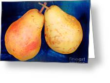 Yellow Pears On Blue Number Two Greeting Card