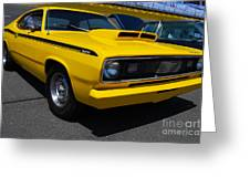 Yellow Plymouth Duster Greeting Card