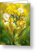 Yellow Poppies In Poppy Vase Greeting Card