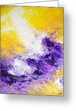 Yellow Purple Inspirational Color Energy Original Abstract Painting Tide Of Time By Chakramoon Greeting Card