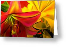 Yellow Red Kiss Greeting Card