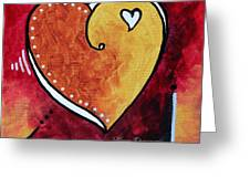 Yellow Red Orange Heart Love Painting Pop Art Love By Megan Duncanson Greeting Card by Megan Duncanson