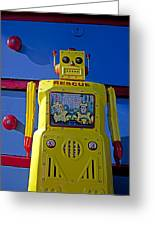 Yellow Robot In Front Of Drawers Greeting Card
