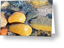 Yellow Rocks At Lake Shore Greeting Card