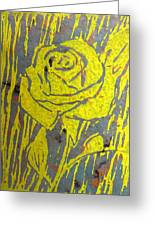 Yellow Rose On Blue Greeting Card by Marita McVeigh