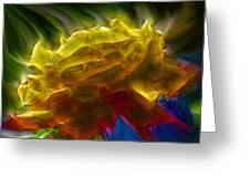 Yellow Rose Series - Colorful Fractal Greeting Card