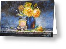 Yellow Roses And Headvase Girl Greeting Card