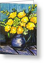 Yellow Roses In Blue Vase Greeting Card