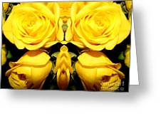Yellow Roses Mirrored Effect Greeting Card