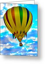 Yellow Striped Hot Air Balloon Greeting Card