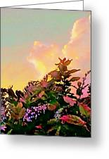 Yellow Sunrise And Flowers - Vertical Greeting Card