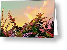 Yellow Sunrise With Flowers - Square Greeting Card