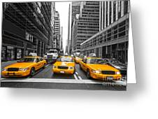 Yellow Taxis In New York City - Usa Greeting Card