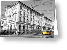 Yellow Tram Greeting Card