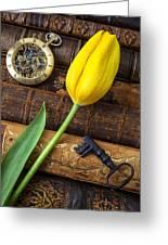 Yellow Tulip On Old Books Greeting Card