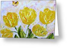 Yellow Tulips And Butterfly Greeting Card