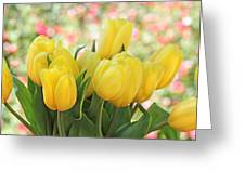 Yellow Tulips In The Spring Garden Greeting Card