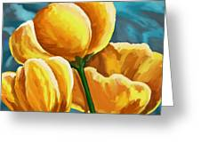 Yellow Tulips On Blue Greeting Card