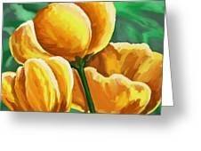 Yellow Tulips On Green Greeting Card