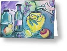 Yellow Vase And Bottles  Greeting Card by Brenda Ruark