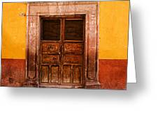 Yellow Wall Wooden Door Greeting Card