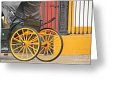 Yellow Wheeled Carriage In Seville Greeting Card