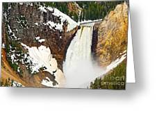 Yellowstone Falls From Lookout Point. Greeting Card