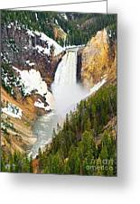 Yellowstone Falls In Spring Time Greeting Card