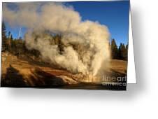 Yellowstone Riverside Eruption Greeting Card