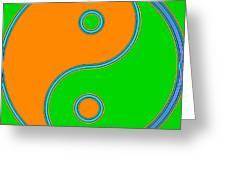 Yin Yang Orange Green Pop Art Greeting Card