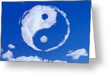 Yin-yang Symbol Made Of Clouds Greeting Card