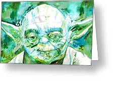 Yoda Watercolor Portrait Greeting Card