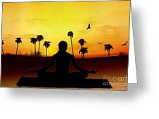 Yoga At Sunrise Greeting Card by Bedros Awak