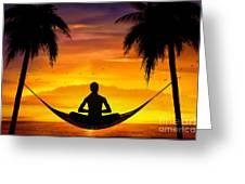 Yoga At Sunset Greeting Card