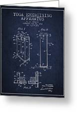 Yoga Exercising Apparatus Patent From 1968 - Navy Blue Greeting Card